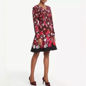 Ann Taylor Floral Burgundy Knee Length Dress NWT